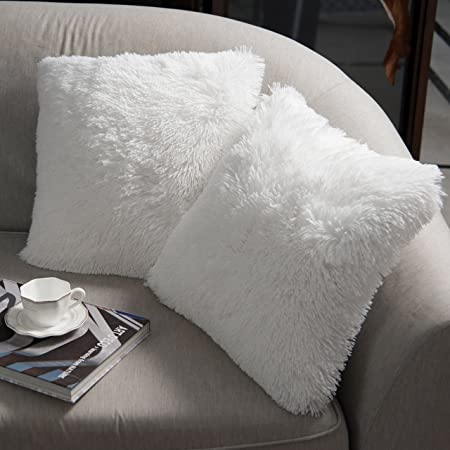 Luxury Soft Faux Fur Shaggy White Cushion Cover Pillowcase/ Pillows Covers