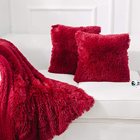 Luxury Soft Faux Fur Shaggy Red Cushion Cover Pillowcase/ Pillows Covers