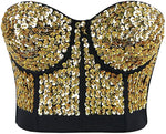 Diamond Gold Studded Sweetheart Bustier Corset Crop Top