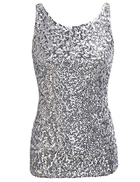 Silver Sparkle Sequin Sleeveless Sequin Top