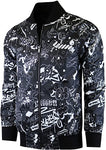 Men's Designer Black & White Print Bomber Long Sleeve Jacket