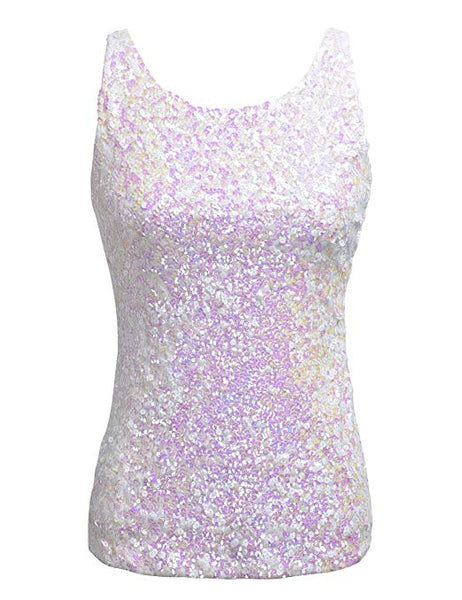 White Sparkle Sequin Sleeveless Sequin Top