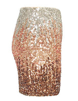 Black Gold Silver Fading Sequin Mini Skirt