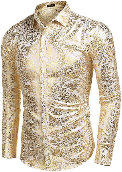 Men's Shiny Gold Paisley Long Sleeve Collared Button Down Shirt