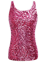 Rose Pink Sparkle Sequin Sleeveless Sequin Top