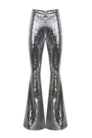 High Fashion Silver Sequin High Waist Wide Leg Pants
