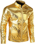 Men's Metallic Gold Motocycle Zip Up Long Sleeve Jacket