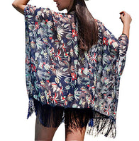 Tropical Garden Blue Chiffon Resort Style Cover Up
