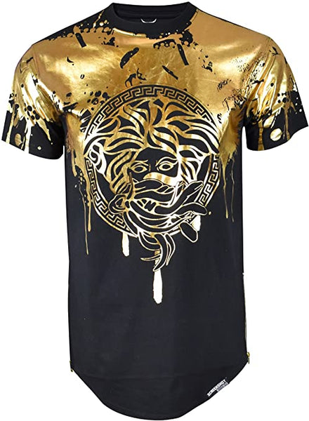Men's Designer Inspired Black Gold Metallic Foil Printed Shirt