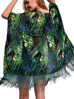 Rainforest Leaves Fringe Chiffon Resort Style Cover Up
