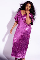 Plus Size Fuchsia Pink Sequin Deep V Maxi Dress