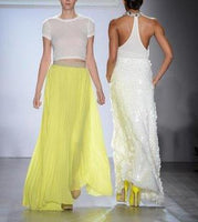 Sophisticated Yellow Chiffon Maxi Skirt