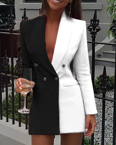 Sophisticated Black & White Long Sleeve Blazer Dress
