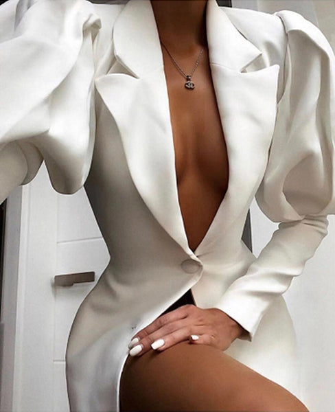 White Constructed Sleeve Blazer Mini Dress