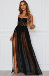 Sweetheart Corset Black Strapless Sheer Maxi Dress