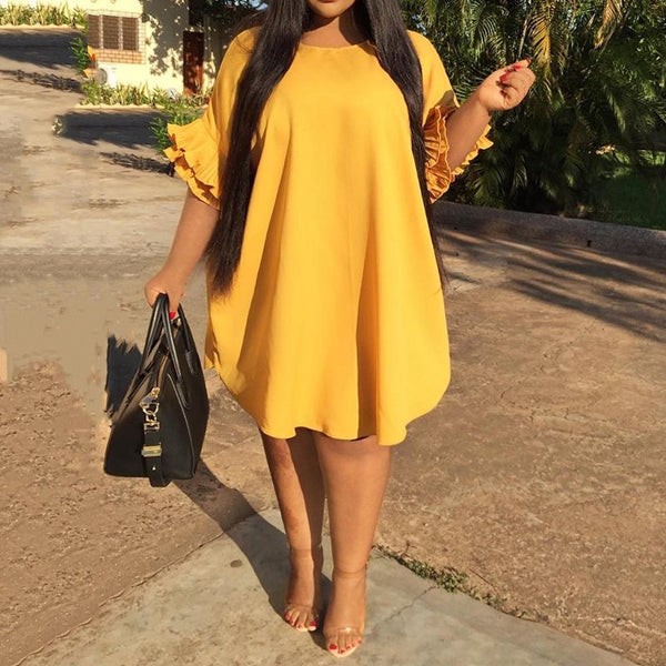 Plus Size Yellow Loose Fit Ruffled Sleeve Mini Dress