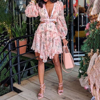 Floral Pink Long Sleeve Cut Out Mini Dress