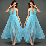 Lovely Sky Blue Chiffon Maxi Dress