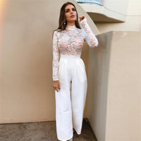 White Egyptian Lace Long Sleeve Jumpsuit