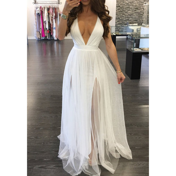 Lovely White Chiffon Backless Maxi Dress