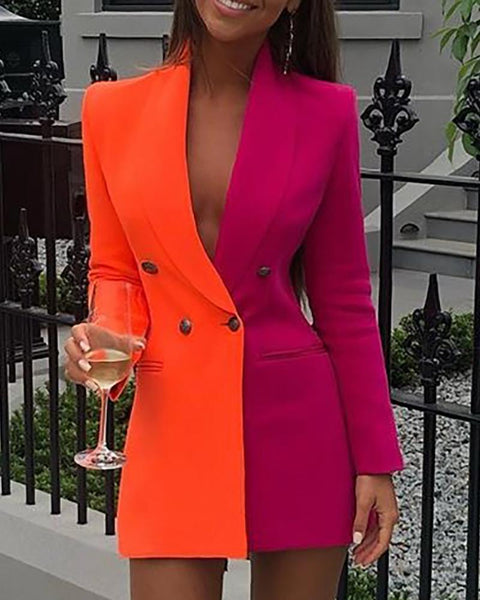 Sophisticated Orange & Pink Long Sleeve Blazer Dress