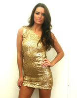 Golden Foil Sequin One Shoulder Mini Dress