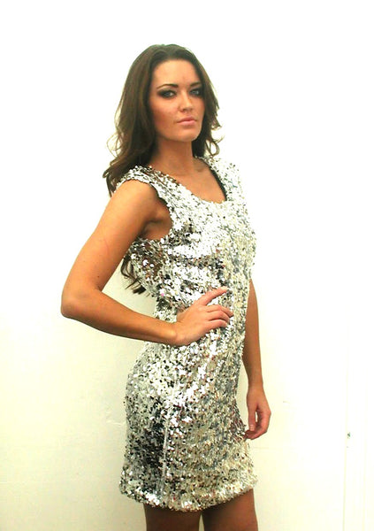 Silver Sequined Cap Sleeve V Back Dress