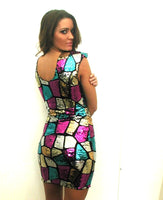 Milano Gold Turquoise Pink Sequin Sleeveless Mini Dress