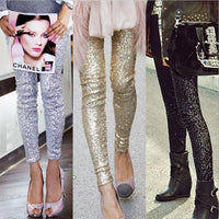 Crushed Black Sequin Leggings