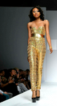 Egyptian Gold Sequined Sweetheart Designer Jumpsuit