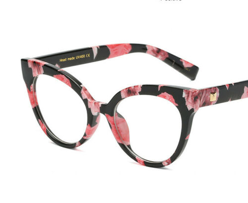 Floral Pink Cat Eye Clear Vintage Style Glasses