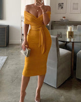 Winter Yellow Knit Off Shoulder Midi Dress