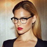 Wayfarer Half Rim Red Two Tone Clear Glasses
