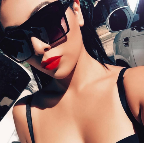 """The Lauren"" Flat Top Oversized Black Sunglasses"