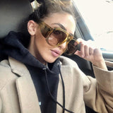 Oversized Black Round Flat Top Designer Sunglasses