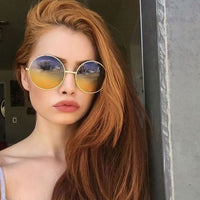 Designer Retro Round Yellow Ombre Sunglasses