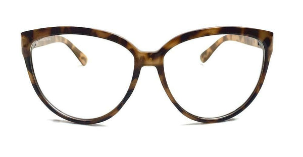Tortoise Style Oversized Cat Eye Clear Glasses