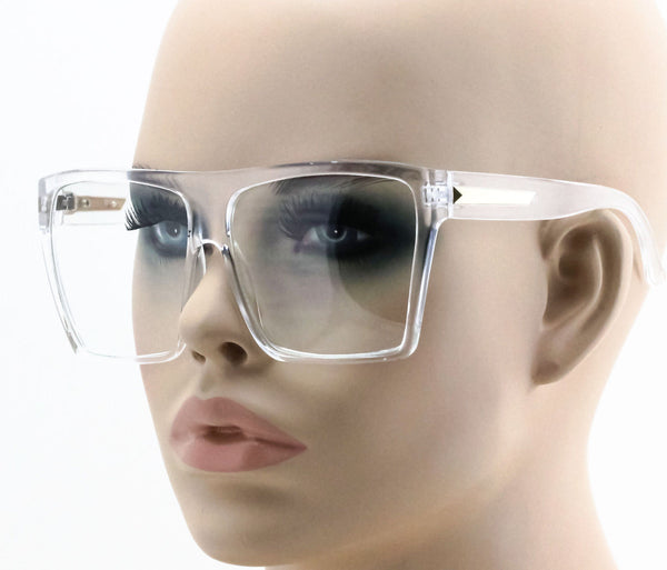 Vintage Square Flat Top Frame Clear Eyeglasses