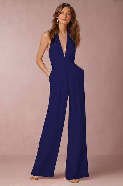 Giovanni Blue Halter Wide Leg Jumpsuit