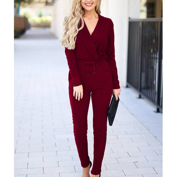 Stella Rosa Red Wine Knit Long Sleeve Jumpsuit