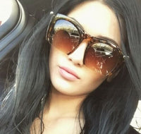 Gradient Tortoise Semi Rimless Gold Lined Sunglasses
