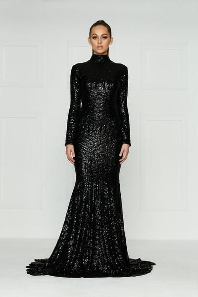 Elegantly Designed Black Long Sleeve Mermaid Dress