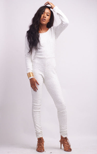 White Long Sleeve Sequined Sparkle Jumpsuit