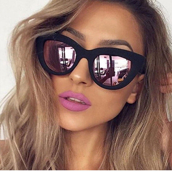 Matte Black Reflective Large Cat Eye Sunglasses