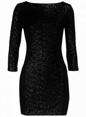 Exquisite Crushed Black Sequin 3/4 Sleeve Dress