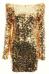 Melrose Gold Long Sleeve Sequin Dress