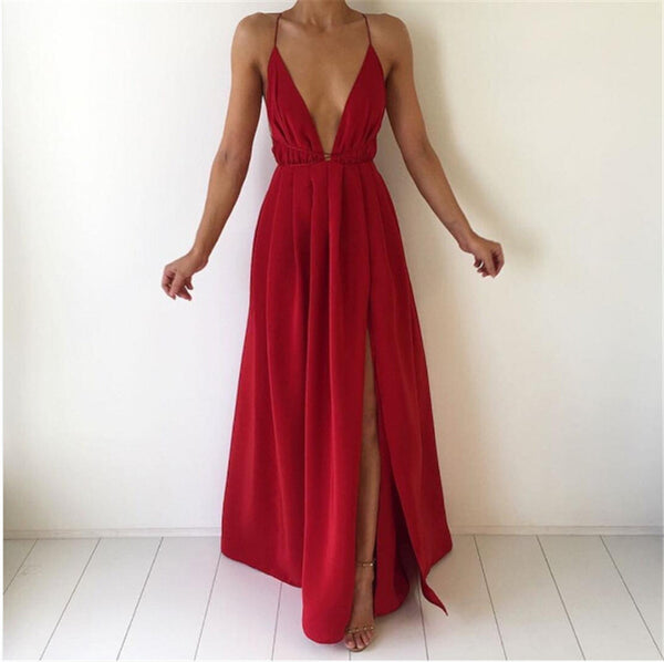Red V Plunge Backless Maxi Dress