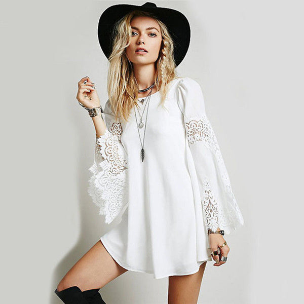 Boho White Lace Bell Sleeve Mini Dress