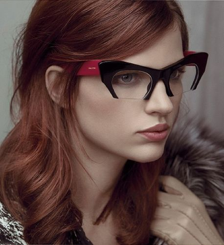 Black & Pink Cat Eye Clear Semi Rimless Glasses