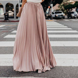 Lovely Pleated Nude Maxi Skirt